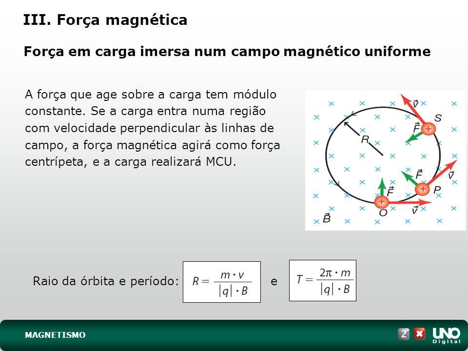 Força em carga imersa num campo magnético uniforme
