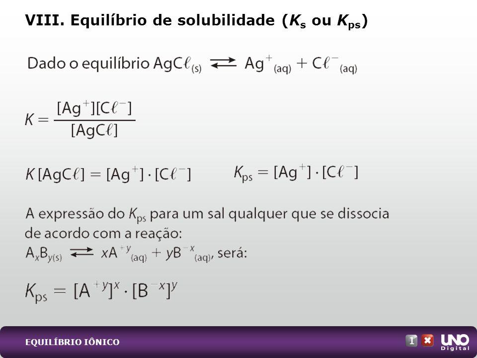 VIII. Equilíbrio de solubilidade (Ks ou Kps)