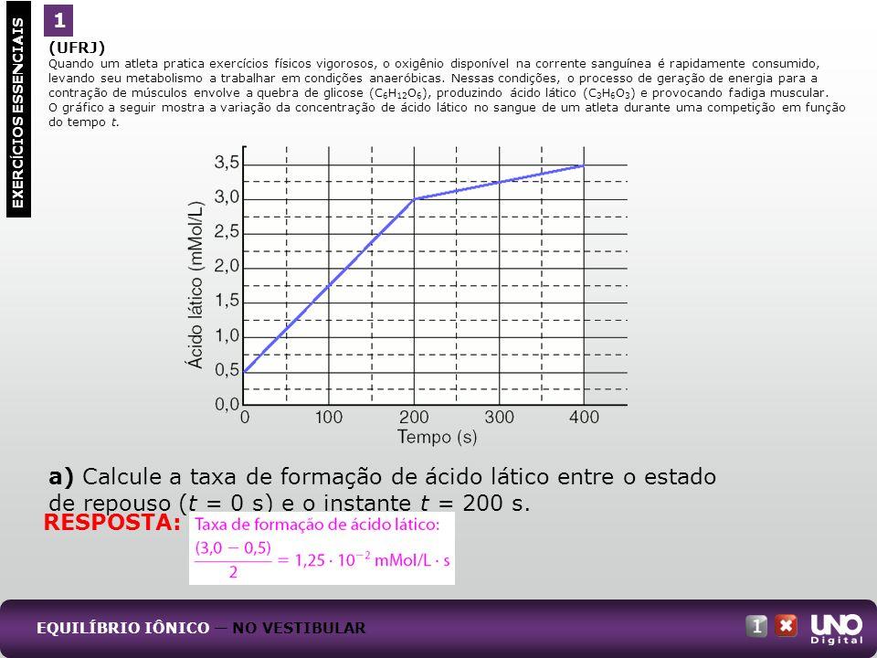 a) Calcule a taxa de formação de ácido lático entre o estado