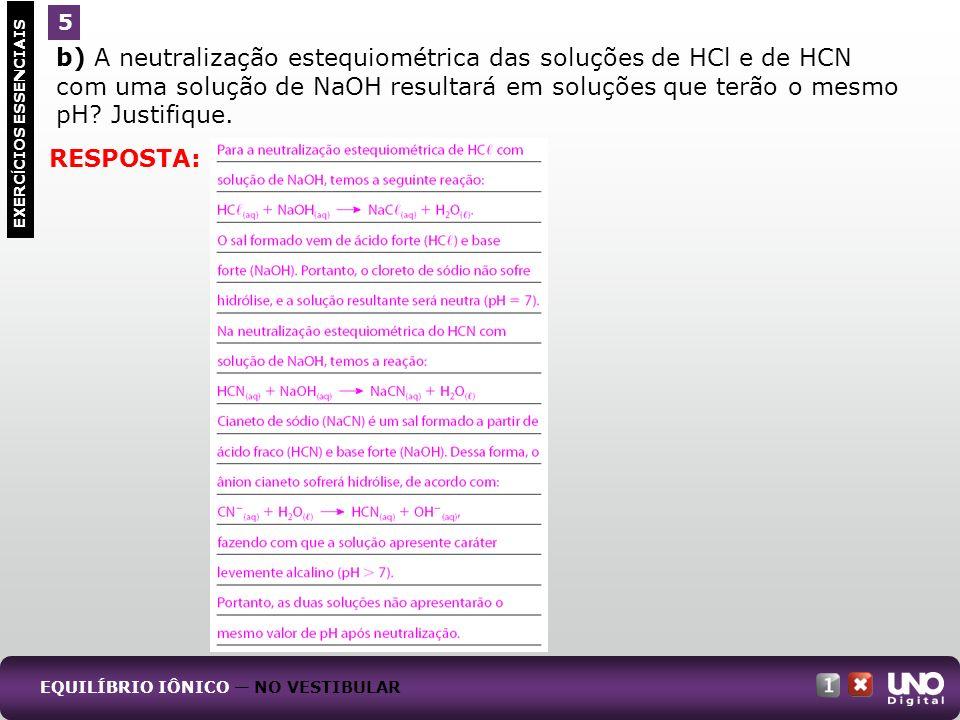 b) A neutralização estequiométrica das soluções de HCl e de HCN