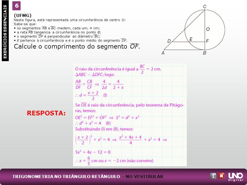 Calcule o comprimento do segmento OF.