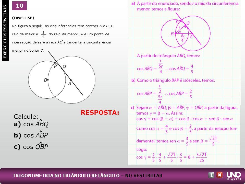 RESPOSTA: Calcule: a) cos ABQ b) cos ABP c) cos QBP 10 1 ^ ^ ^