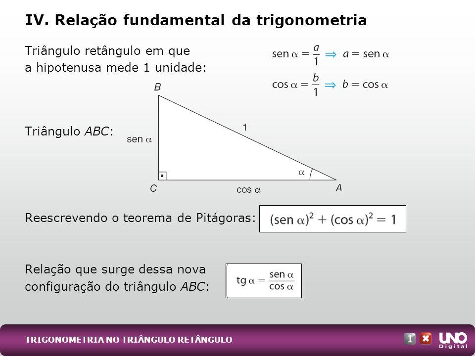 IV. Relação fundamental da trigonometria
