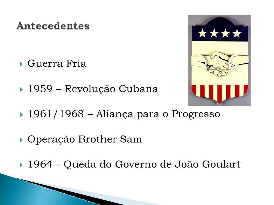 Antecedentes Guerra Fria. 1959 – Revolução Cubana. 1961/1968 – Aliança para o Progresso. Operação Brother Sam.