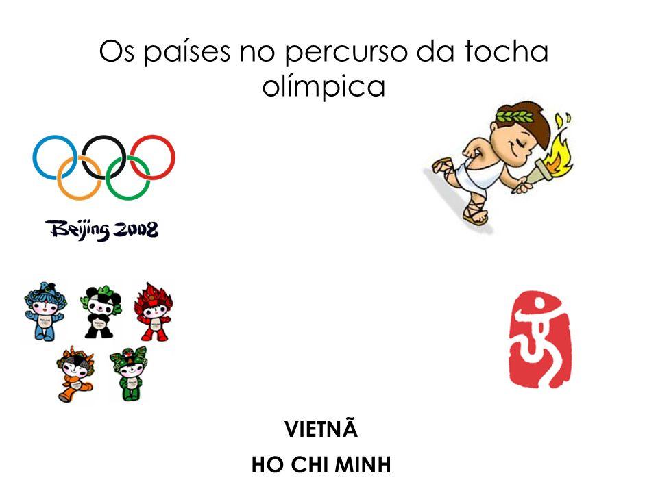 Os países no percurso da tocha olímpica