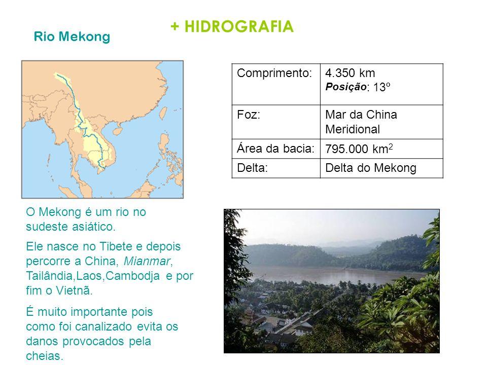 + HIDROGRAFIA Rio Mekong Comprimento: 4.350 km Posição: 13º Foz: