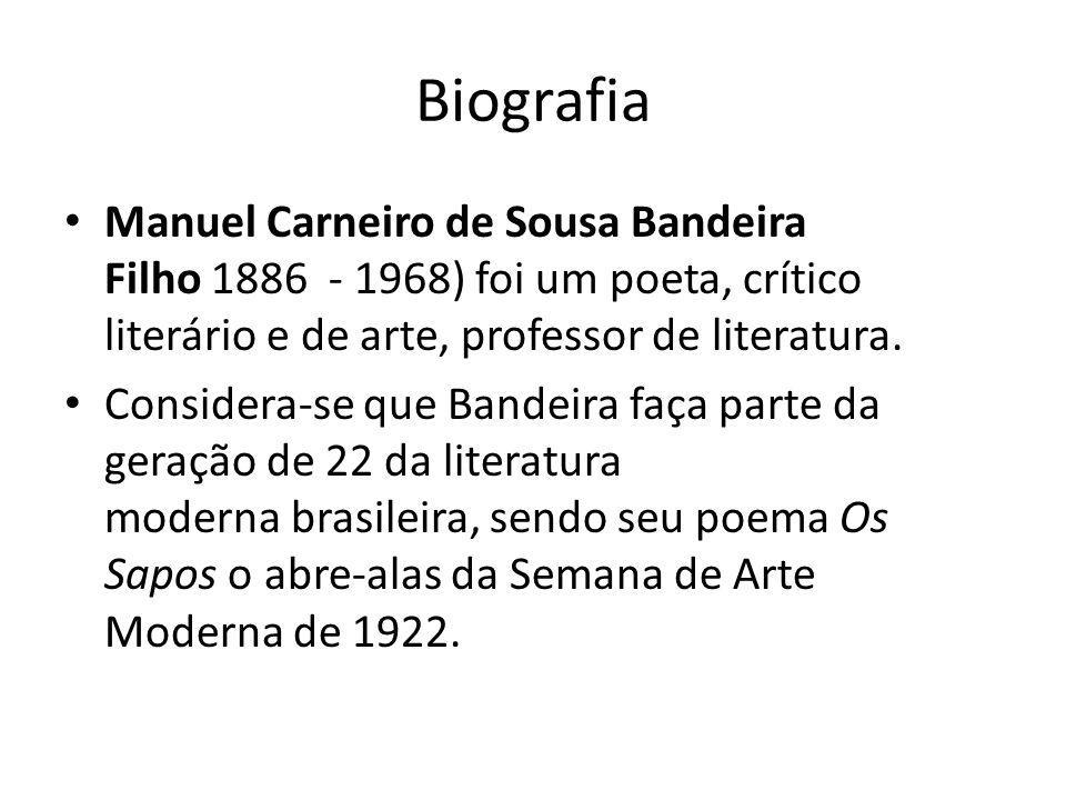 BiografiaManuel Carneiro de Sousa Bandeira Filho 1886 - 1968) foi um poeta, crítico literário e de arte, professor de literatura.