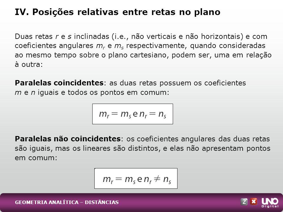 IV. Posições relativas entre retas no plano