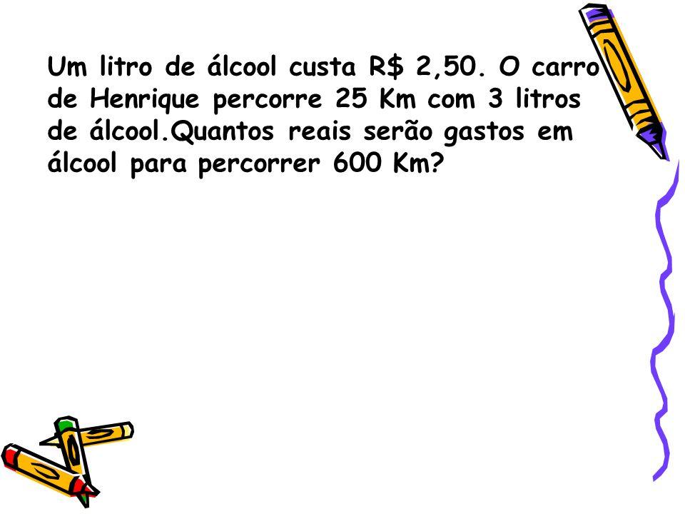 Um litro de álcool custa R$ 2,50