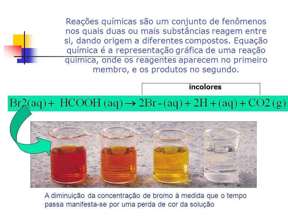 Reações químicas são um conjunto de fenômenos nos quais duas ou mais substâncias reagem entre si, dando origem a diferentes compostos. Equação química é a representação gráfica de uma reação química, onde os reagentes aparecem no primeiro membro, e os produtos no segundo.