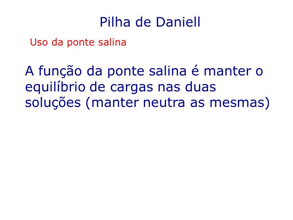 Pilha de Daniell Uso da ponte salina.