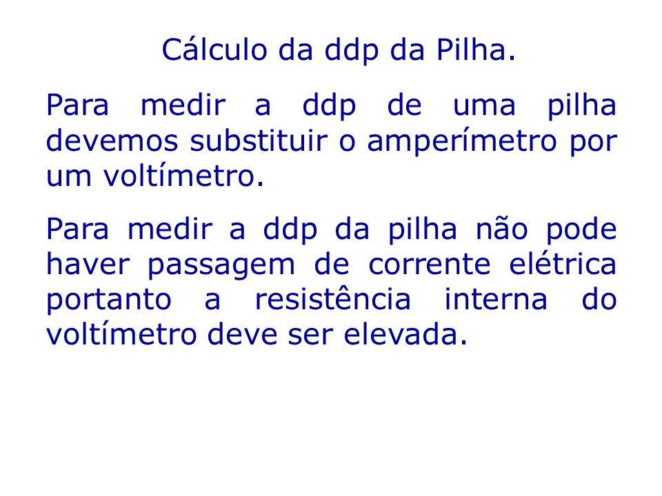 Cálculo da ddp da Pilha. Para medir a ddp de uma pilha devemos substituir o amperímetro por um voltímetro.
