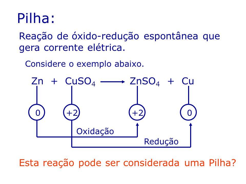 Pilha: Reação de óxido-redução espontânea que gera corrente elétrica.