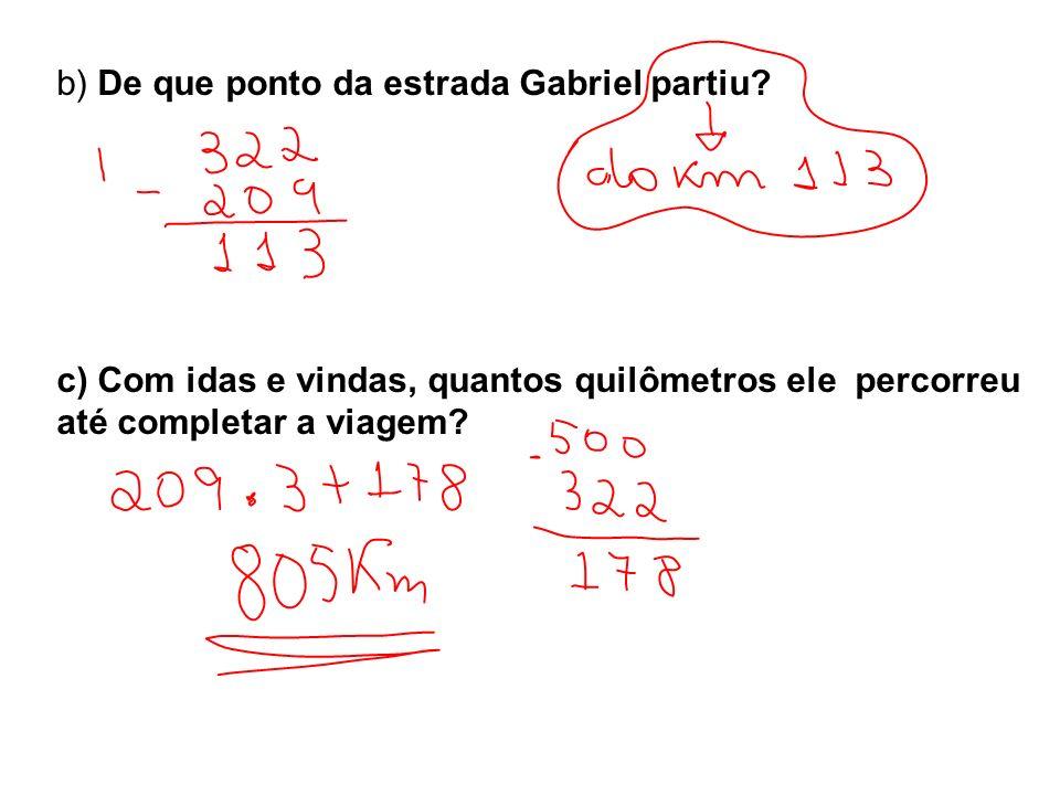 b) De que ponto da estrada Gabriel partiu