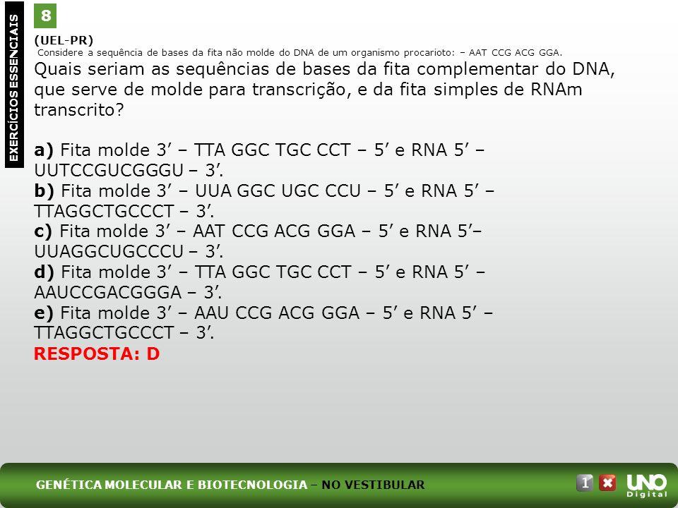a) Fita molde 3' – TTA GGC TGC CCT – 5' e RNA 5' – UUTCCGUCGGGU – 3'.