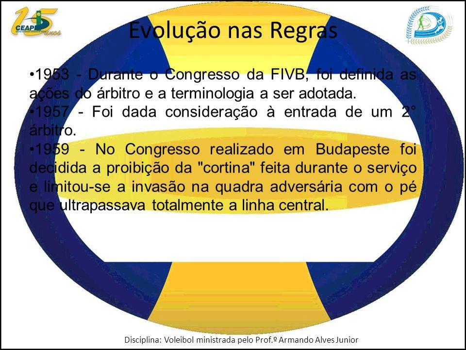 Evolução nas Regras 1953 - Durante o Congresso da FIVB, foi definida as ações do árbitro e a terminologia a ser adotada.