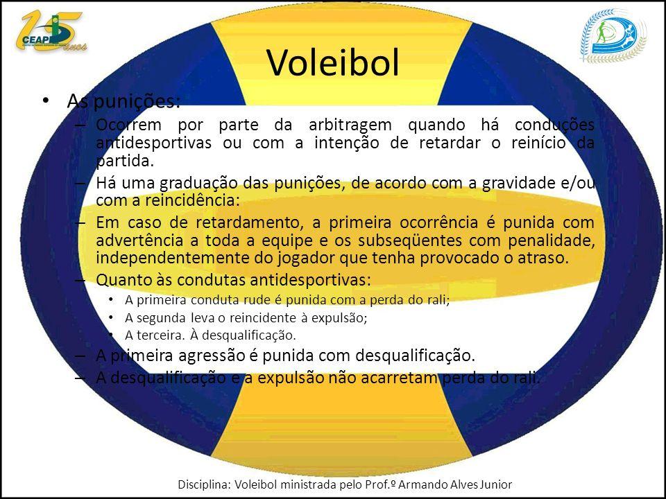 Voleibol As punições: Ocorrem por parte da arbitragem quando há conduções antidesportivas ou com a intenção de retardar o reinício da partida.