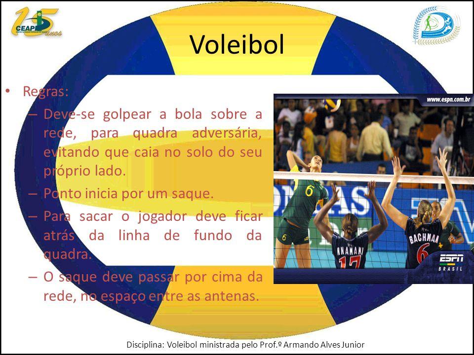 Voleibol Regras: Deve-se golpear a bola sobre a rede, para quadra adversária, evitando que caia no solo do seu próprio lado.