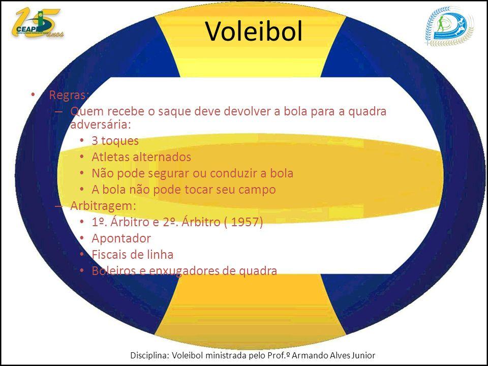 Voleibol Regras: Quem recebe o saque deve devolver a bola para a quadra adversária: 3 toques. Atletas alternados.