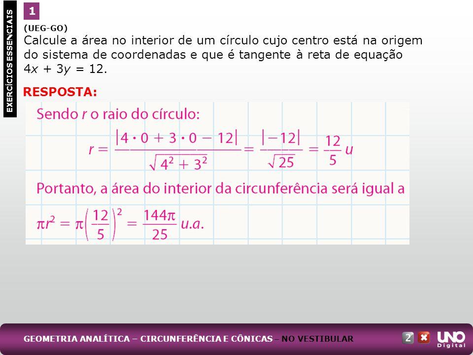 1 (UEG-GO) Calcule a área no interior de um círculo cujo centro está na origem do sistema de coordenadas e que é tangente à reta de equação.