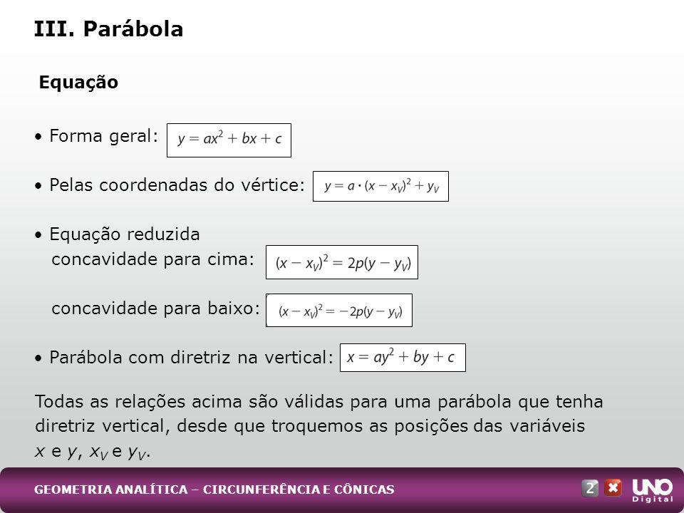 III. Parábola Equação • Forma geral: • Pelas coordenadas do vértice: