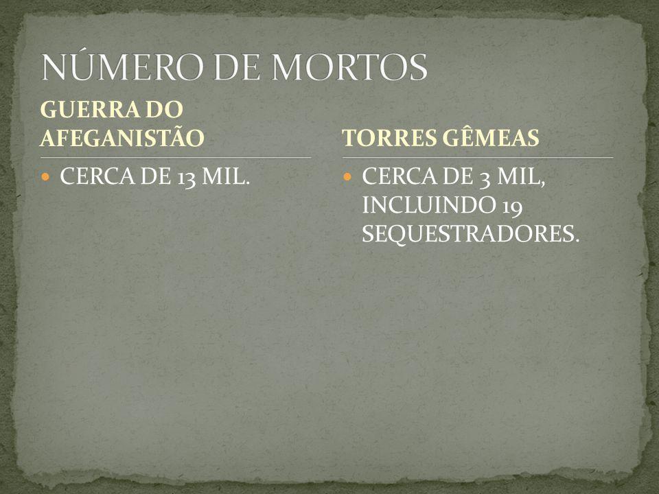 NÚMERO DE MORTOS GUERRA DO AFEGANISTÃO TORRES GÊMEAS CERCA DE 13 MIL.