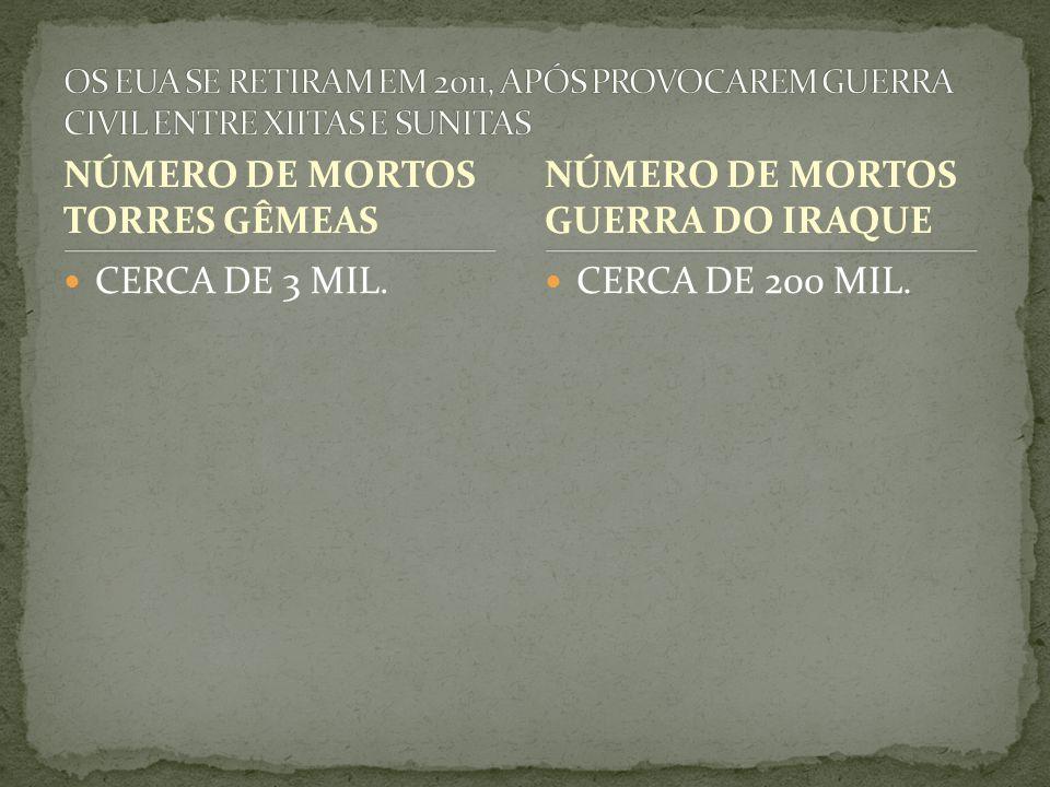 NÚMERO DE MORTOS TORRES GÊMEAS NÚMERO DE MORTOS GUERRA DO IRAQUE
