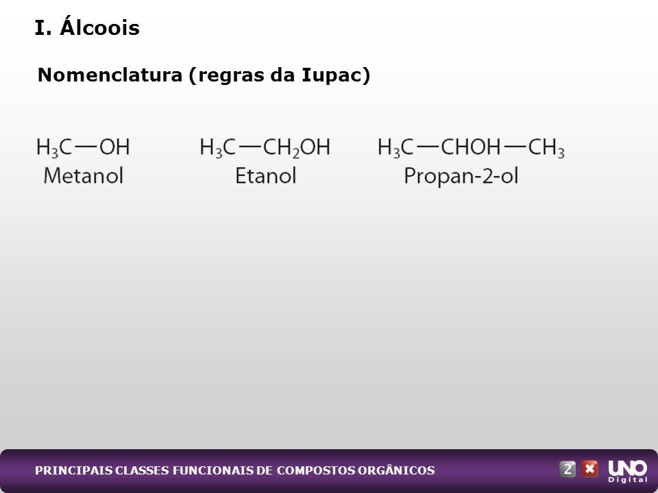 I. Álcoois Nomenclatura (regras da Iupac) Qui-cad-2-top-5 – 3 Prova