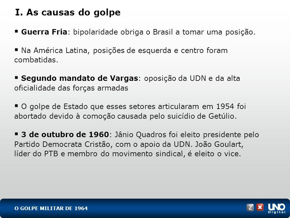His-cad-2-top-8 – 3 ProvaI. As causas do golpe. Guerra Fria: bipolaridade obriga o Brasil a tomar uma posição.