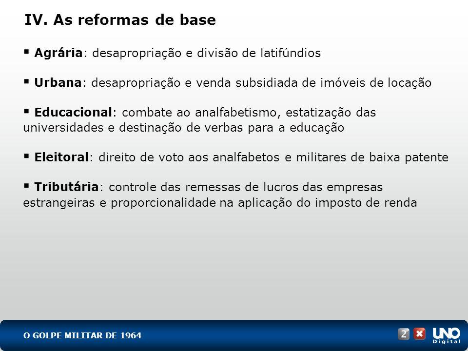 His-cad-2-top-8 – 3 ProvaIV. As reformas de base. Agrária: desapropriação e divisão de latifúndios.