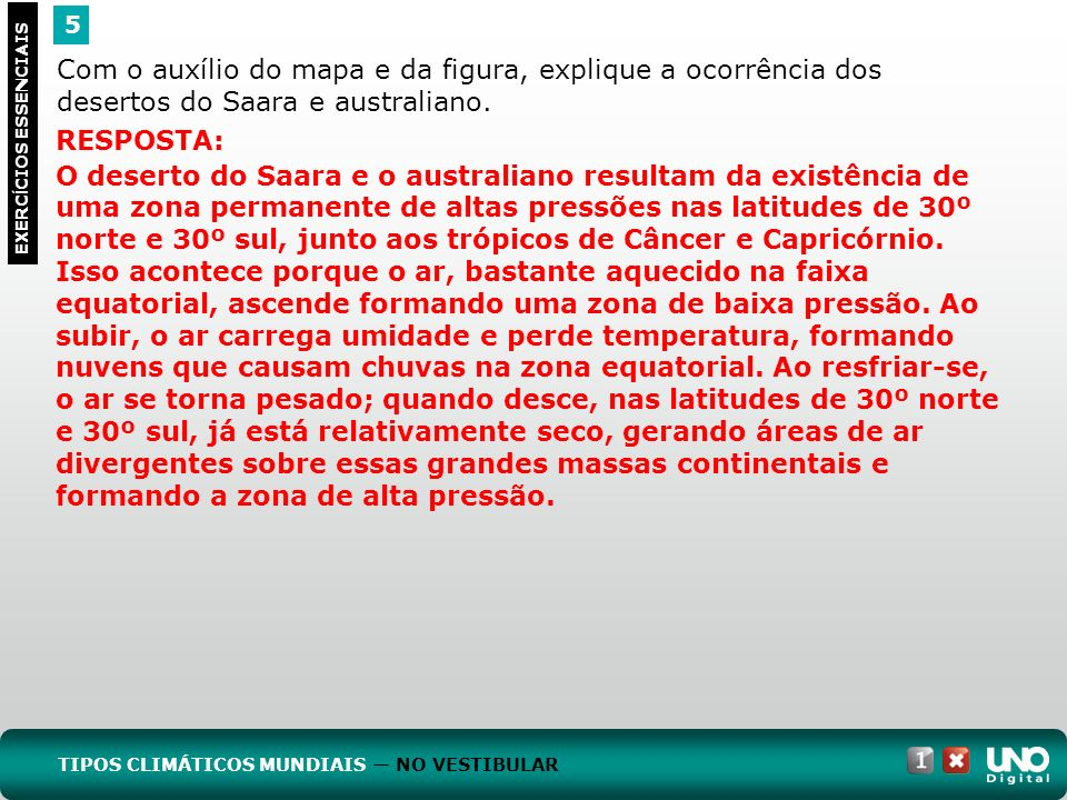 Geo-cad-1-top-4- 3 prova 5. Com o auxílio do mapa e da figura, explique a ocorrência dos desertos do Saara e australiano.