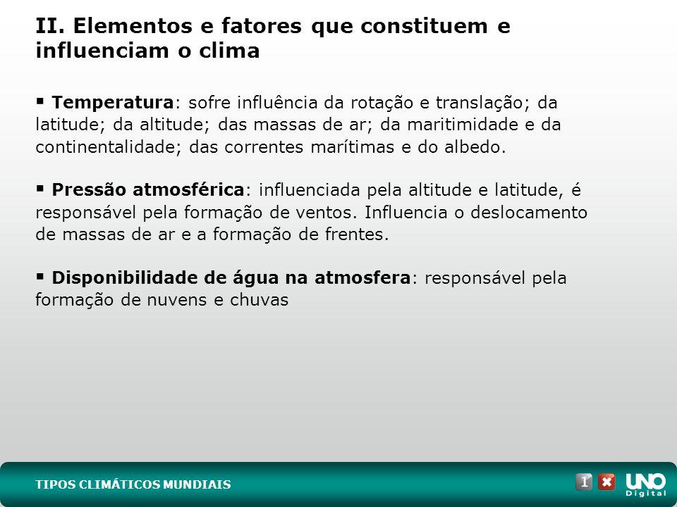II. Elementos e fatores que constituem e influenciam o clima