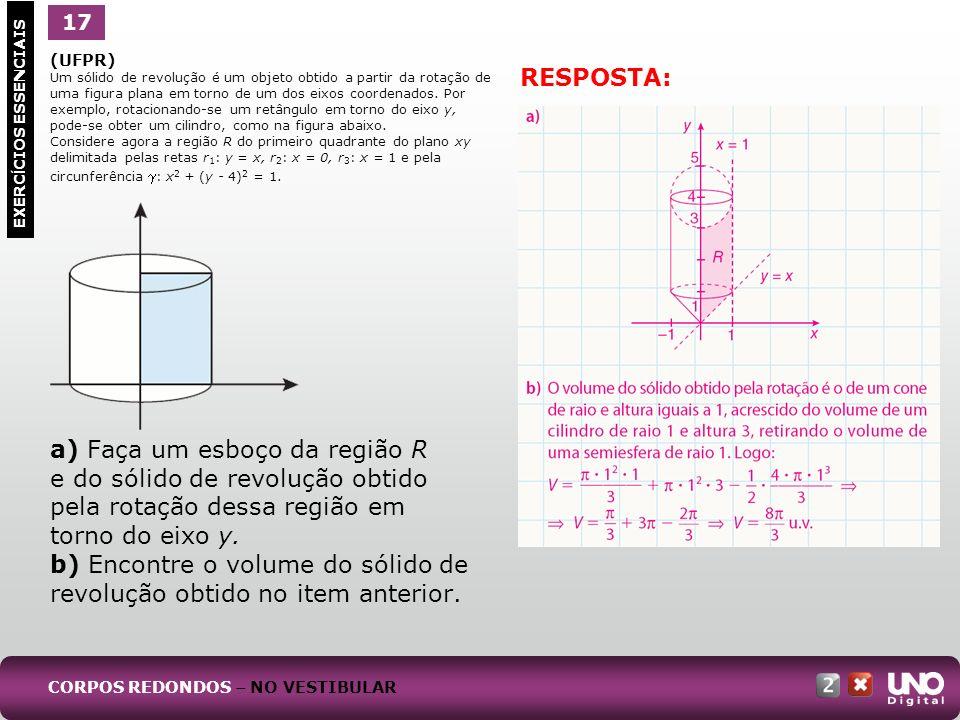 b) Encontre o volume do sólido de revolução obtido no item anterior.