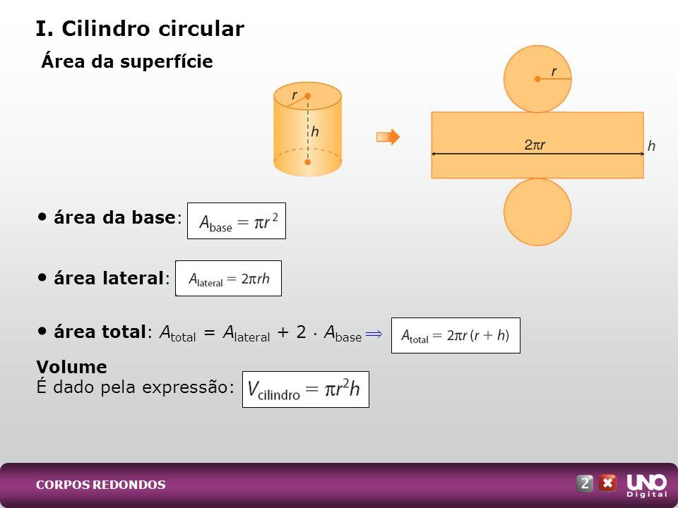 I. Cilindro circular Área da superfície área da base: área lateral: