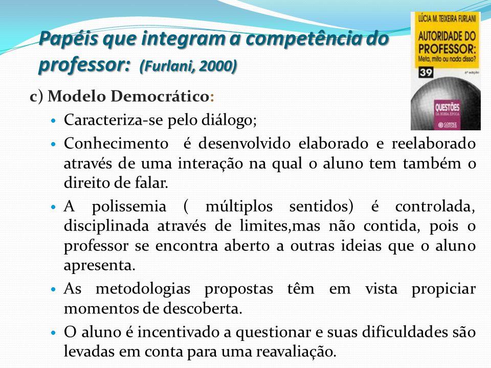 Papéis que integram a competência do professor: (Furlani, 2000)