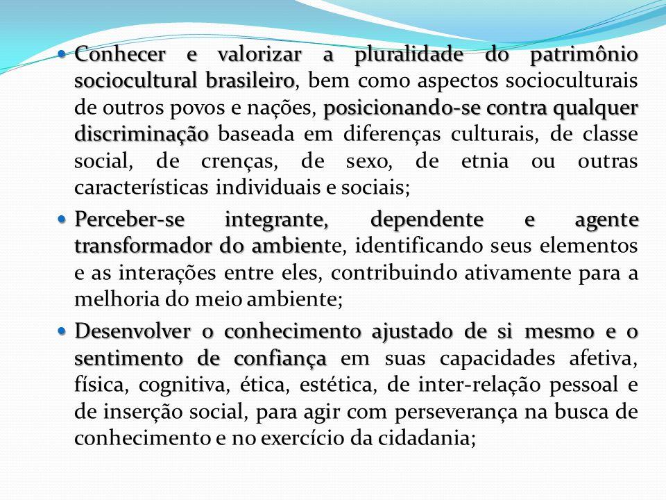 Conhecer e valorizar a pluralidade do patrimônio sociocultural brasileiro, bem como aspectos socioculturais de outros povos e nações, posicionando-se contra qualquer discriminação baseada em diferenças culturais, de classe social, de crenças, de sexo, de etnia ou outras características individuais e sociais;