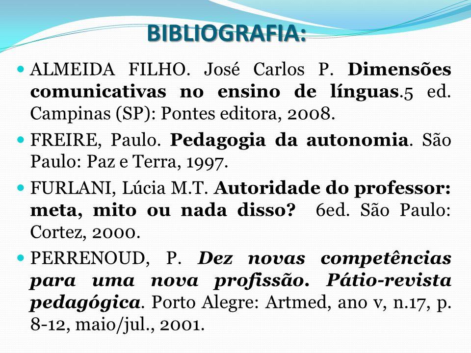 BIBLIOGRAFIA: ALMEIDA FILHO. José Carlos P. Dimensões comunicativas no ensino de línguas.5 ed. Campinas (SP): Pontes editora, 2008.