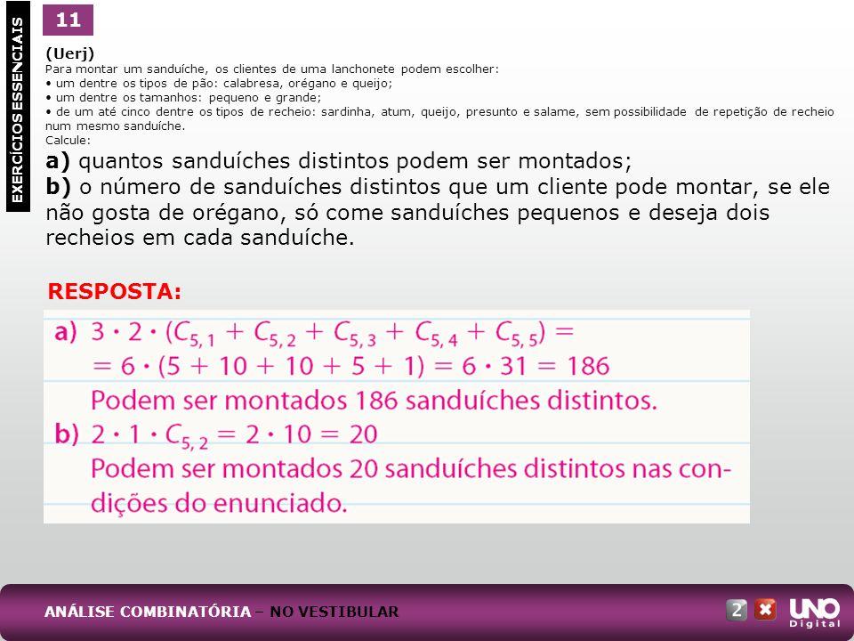 a) quantos sanduíches distintos podem ser montados;