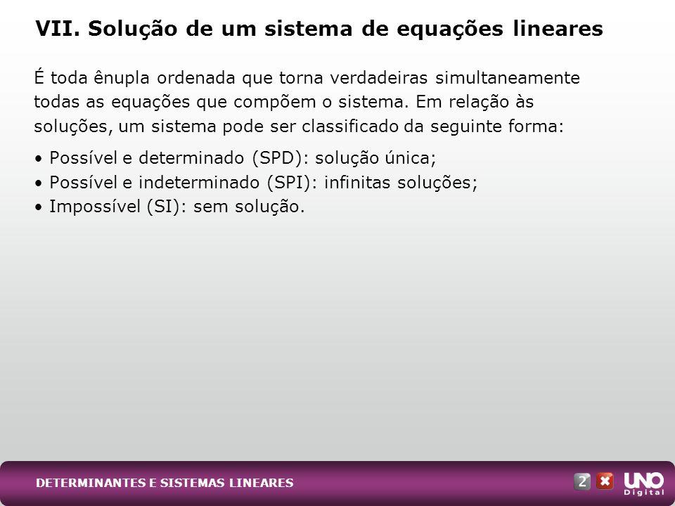 VII. Solução de um sistema de equações lineares