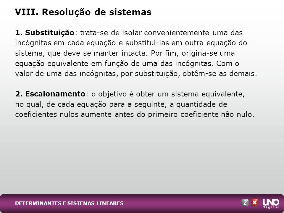 VIII. Resolução de sistemas