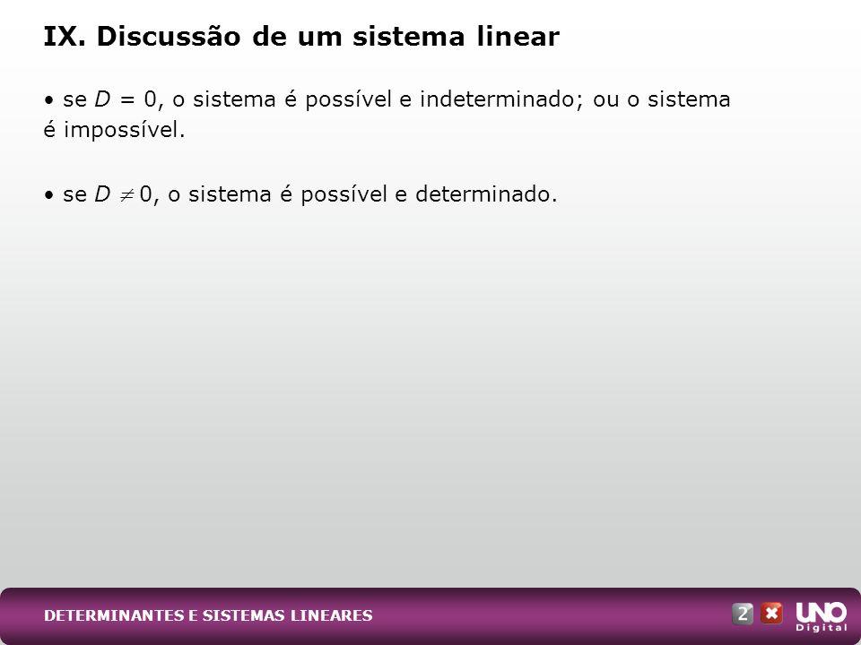 IX. Discussão de um sistema linear