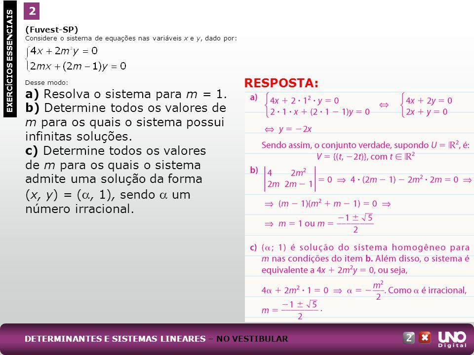 a) Resolva o sistema para m = 1.