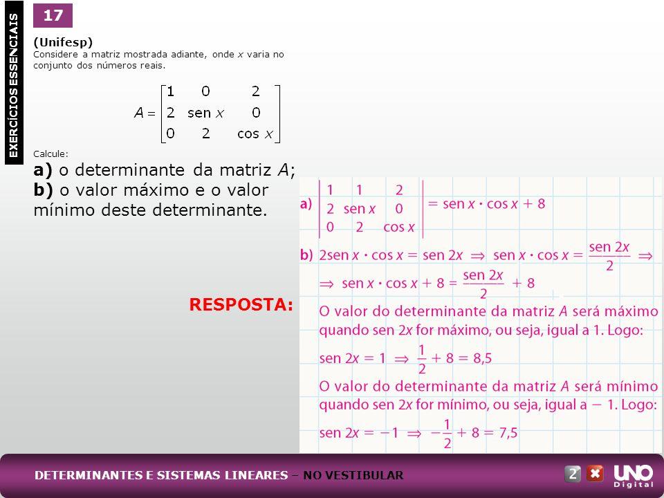 a) o determinante da matriz A;
