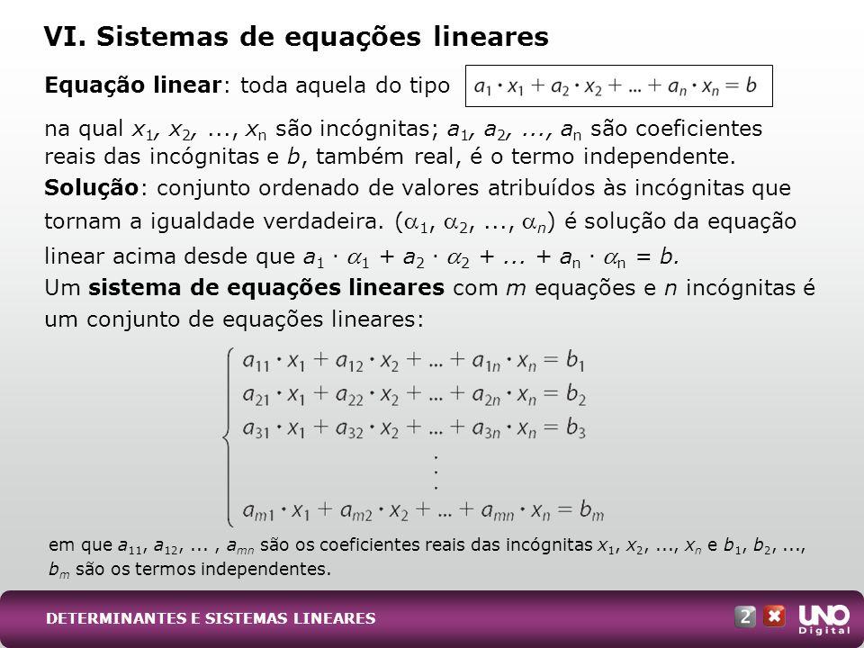 VI. Sistemas de equações lineares