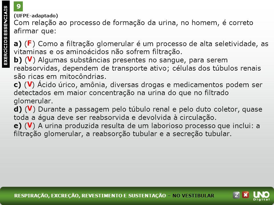 Bio-cad-2-top-7 – 3 Prova 9. (UFPE-adaptado) Com relação ao processo de formação da urina, no homem, é correto afirmar que: