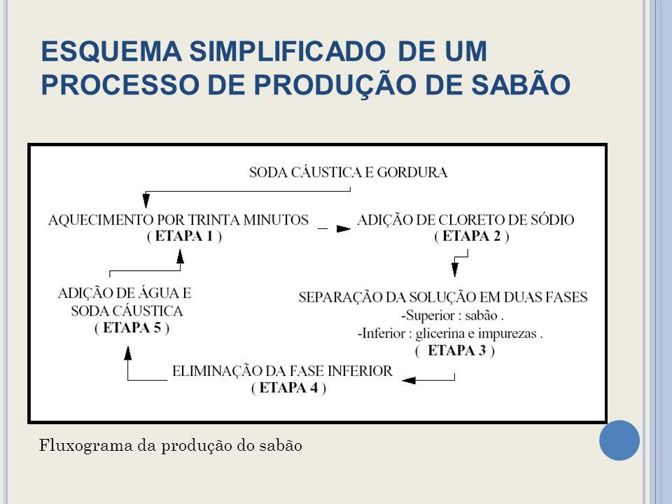 ESQUEMA SIMPLIFICADO DE UM PROCESSO DE PRODUÇÃO DE SABÃO