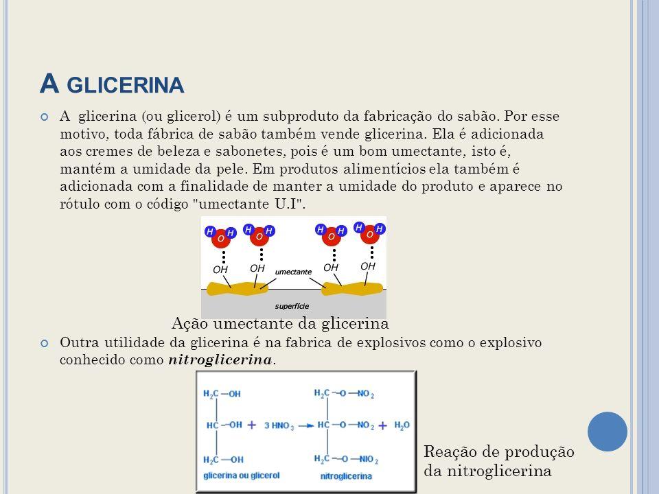 A glicerina Ação umectante da glicerina