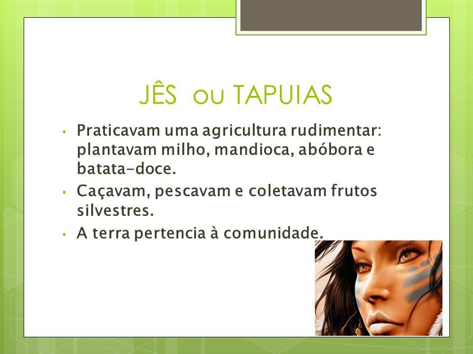 JÊS ou TAPUIAS Praticavam uma agricultura rudimentar: plantavam milho, mandioca, abóbora e batata-doce.
