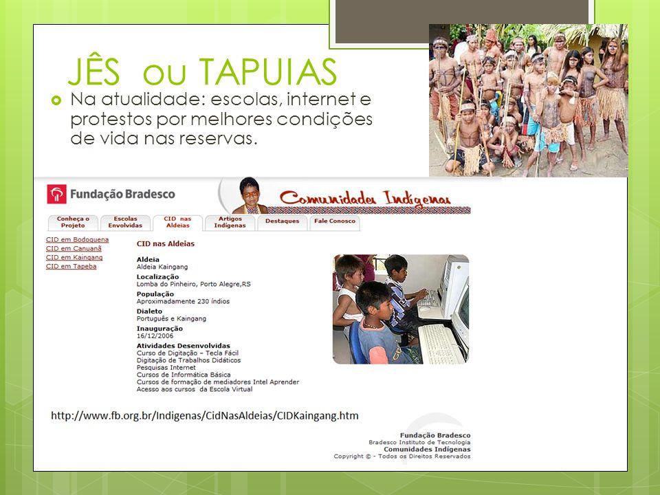 JÊS ou TAPUIAS Na atualidade: escolas, internet e protestos por melhores condições de vida nas reservas.