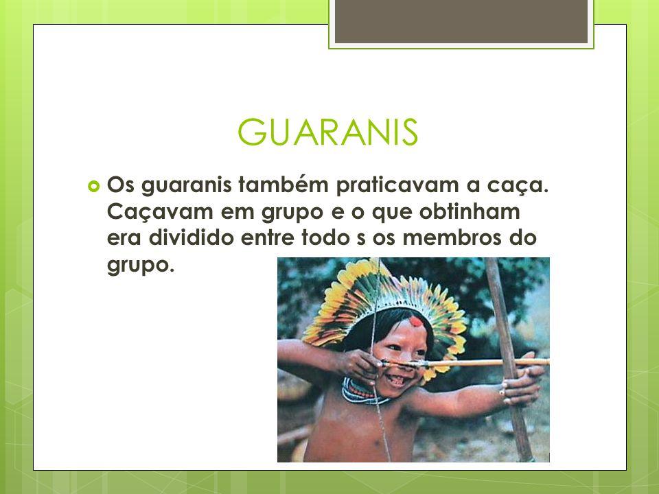 GUARANIS Os guaranis também praticavam a caça.